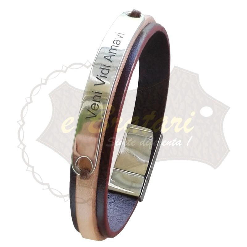 Bratara handmade din piele naturala lata si snur ARGINT 2 MESAJ-M61