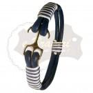 Bratara handmade din snur din piele Navy2-M7